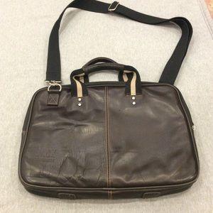 Leather look laptop bag EUC